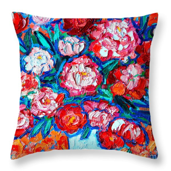 PEONIES BOUQUET Throw Pillow by ANA MARIA EDULESCU
