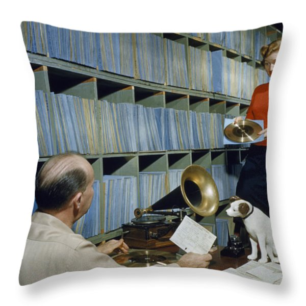People Work In Rca Victors Vault Throw Pillow by Robert Sisson
