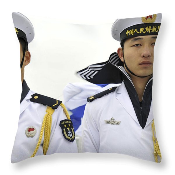 Peoples Liberation Army Navy Sailors Throw Pillow by Stocktrek Images