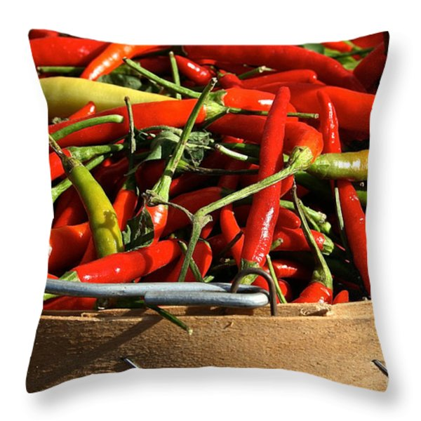 Peppers And More Peppers Throw Pillow by Susan Herber