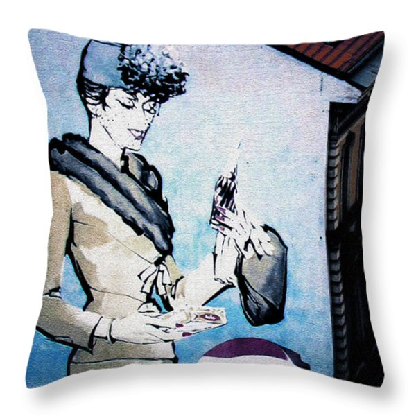 Pepsi Is Here - Pepsi Cola Ad In Prague Cz Throw Pillow by Christine Till