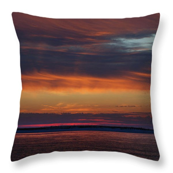 Perdido Pass Red Sunrise Throw Pillow by Michael Thomas
