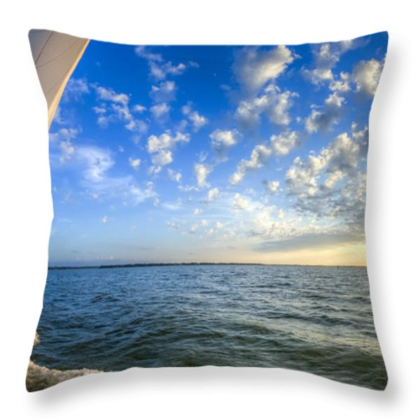 Perfect Evening Sailing on the Charleston Harbor Throw Pillow by Dustin K Ryan