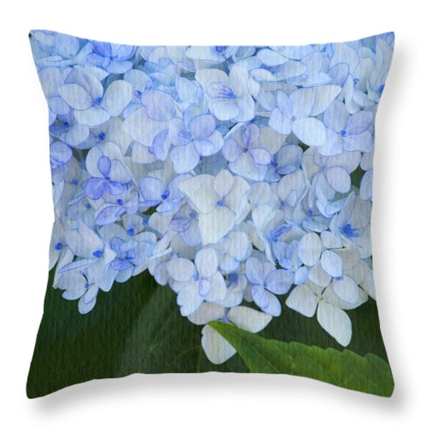 Periwinkle Blue Hydrangea Throw Pillow by Bonnie Bruno