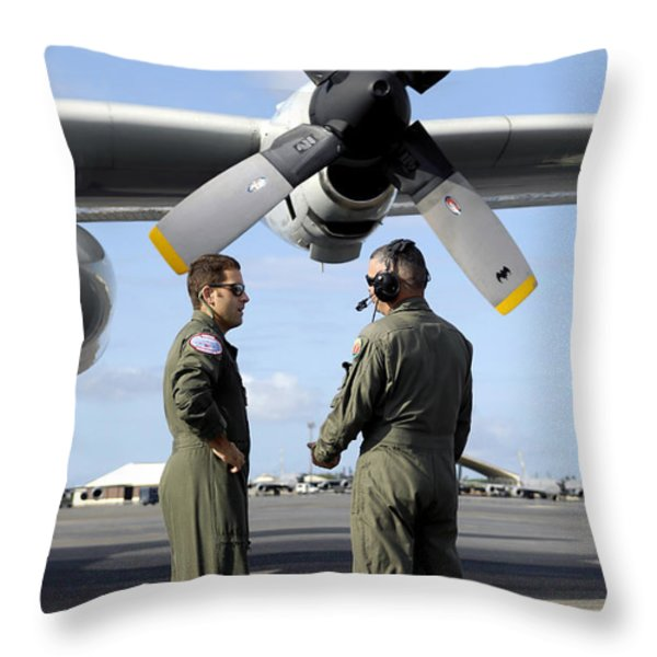 Personnel Conduct A Pre-flight Briefing Throw Pillow by Stocktrek Images