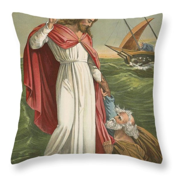 Peter Walking On The Sea Throw Pillow by English School