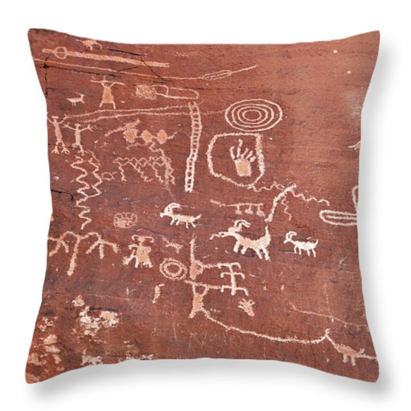Petroglyph Canyon - Valley Of Fire Throw Pillow by Christine Till