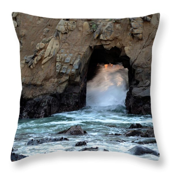 Pfeiffer Rock Big Sur 2 Throw Pillow by Bob Christopher