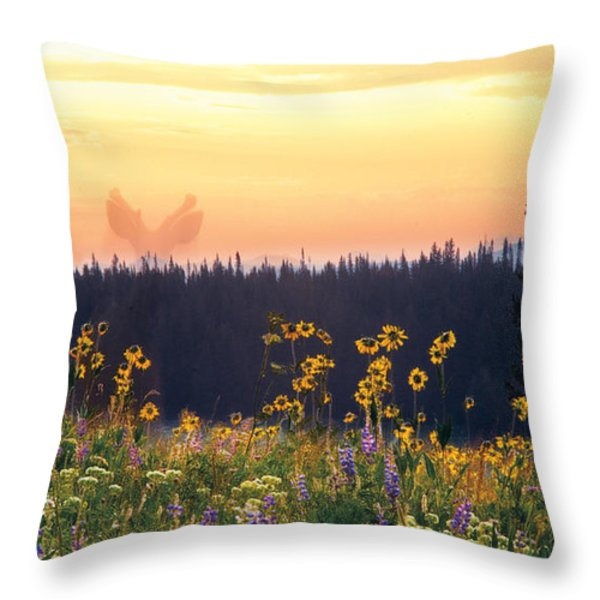 Phantom Deer Throw Pillow by Dave Dilli