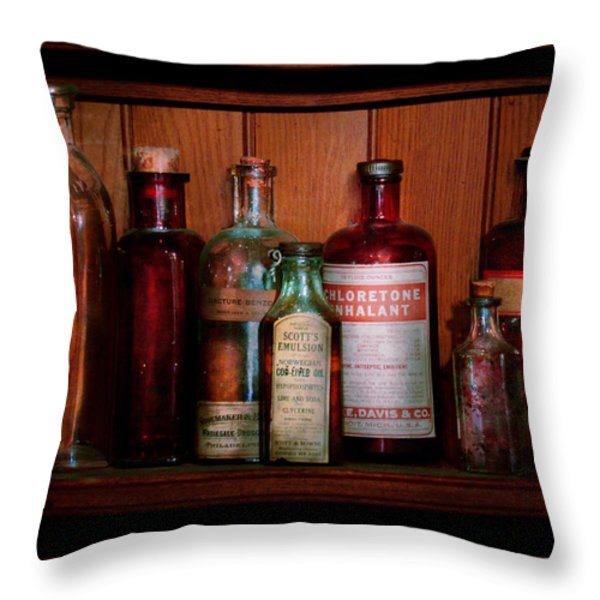 Pharmacy -  Oils And Inhalants Throw Pillow by Mike Savad