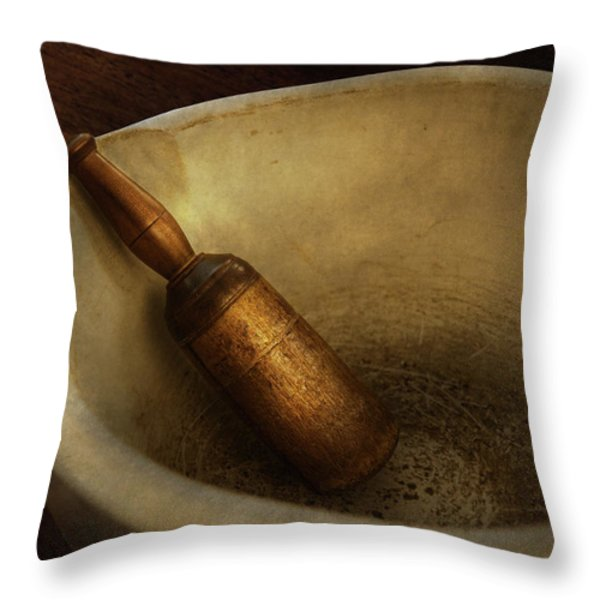 Pharmacy - Pestle - Mortar Grinder  Throw Pillow by Mike Savad