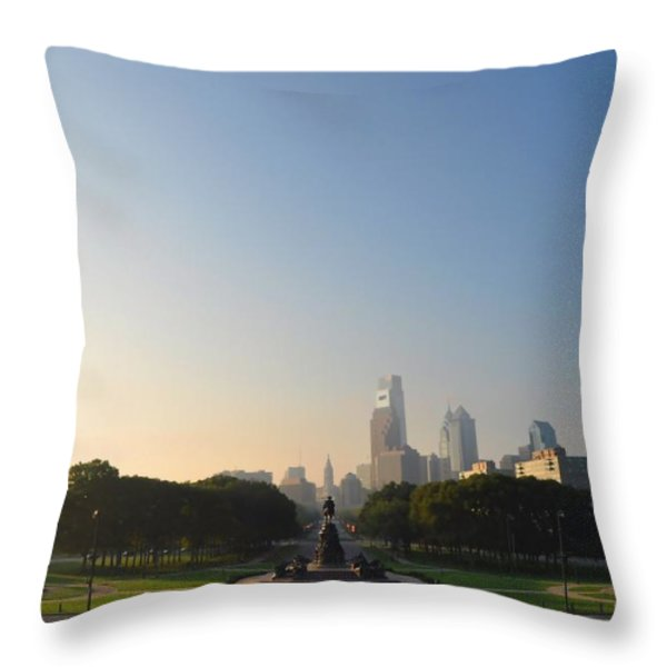 Philadelphia Across Eakins Oval Throw Pillow by Bill Cannon
