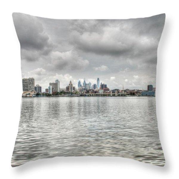 Philadelphia Across The Water Throw Pillow by Jennifer Ancker