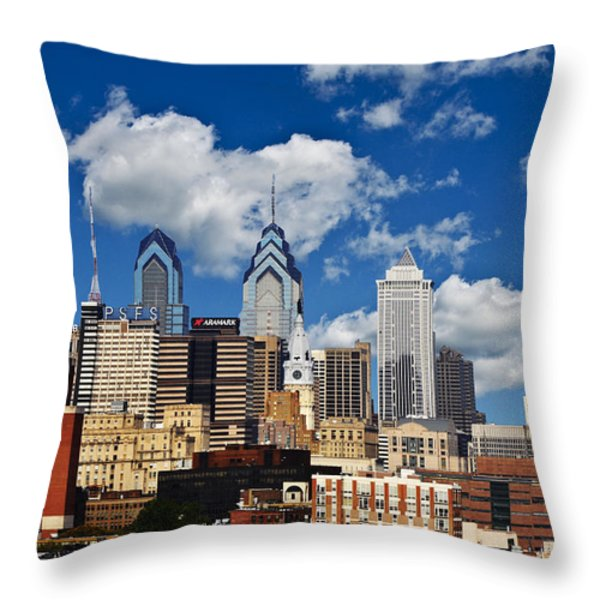 Philadelphia Blue Skies Throw Pillow by Bill Cannon