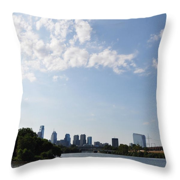 Philadelphia from Kelly Drive Throw Pillow by Bill Cannon