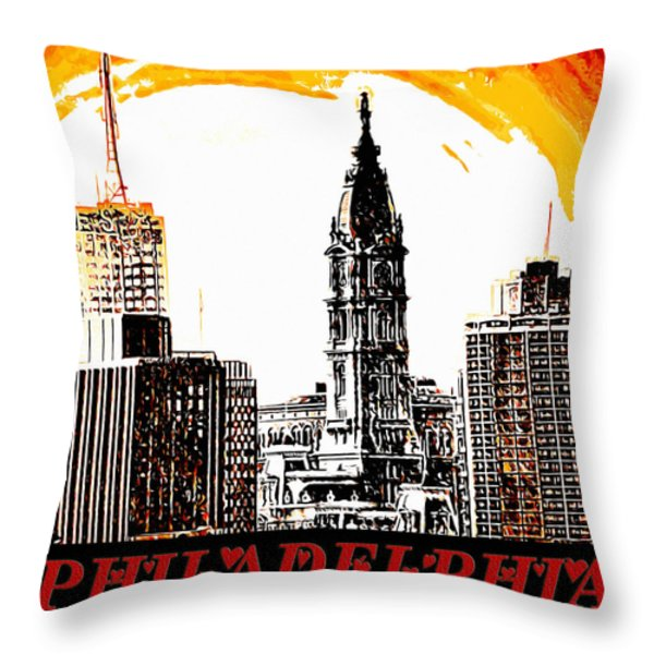 Philadelphia Poster Throw Pillow by Bill Cannon