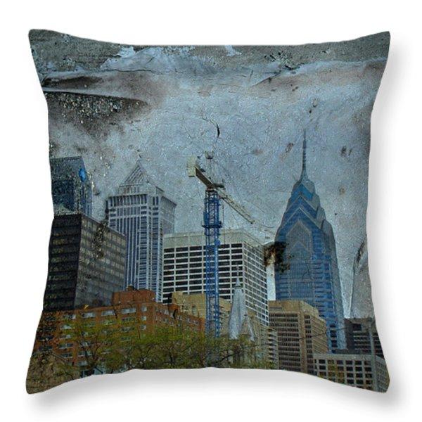 Philadelphia Skyline Throw Pillow by Mother Nature