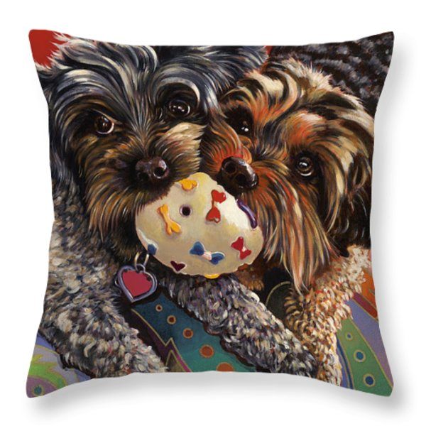 Phoebe And Isabelle Throw Pillow by Bob Coonts