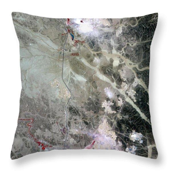 Phosphate Mines, Jordan Throw Pillow by NASA