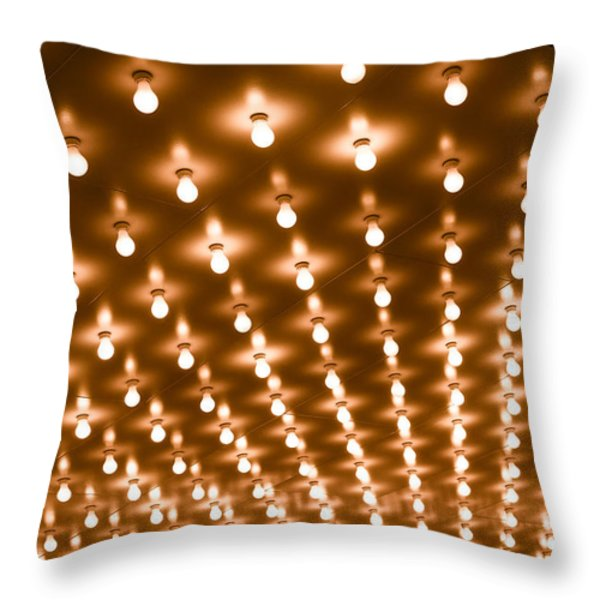 Photo of Theater Marquee Lights Throw Pillow by Paul Velgos