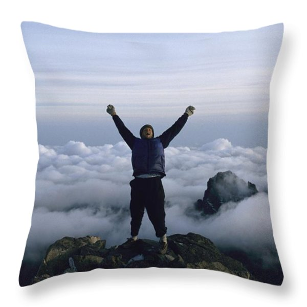 Photographer Bobby Model At The Peak Throw Pillow by Bobby Model