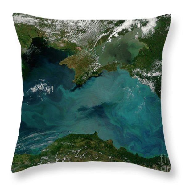 Phytoplankton Bloom In The Black Sea Throw Pillow by Stocktrek Images