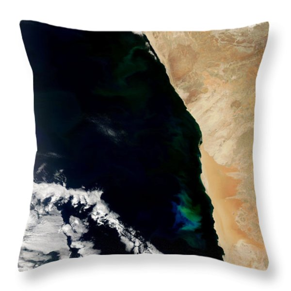 Phytoplankton Bloom Off Nambia Throw Pillow by Nasa