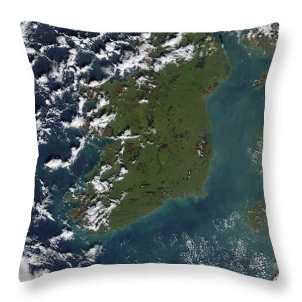Phytoplankton Bloom Off The Coast Throw Pillow by Stocktrek Images