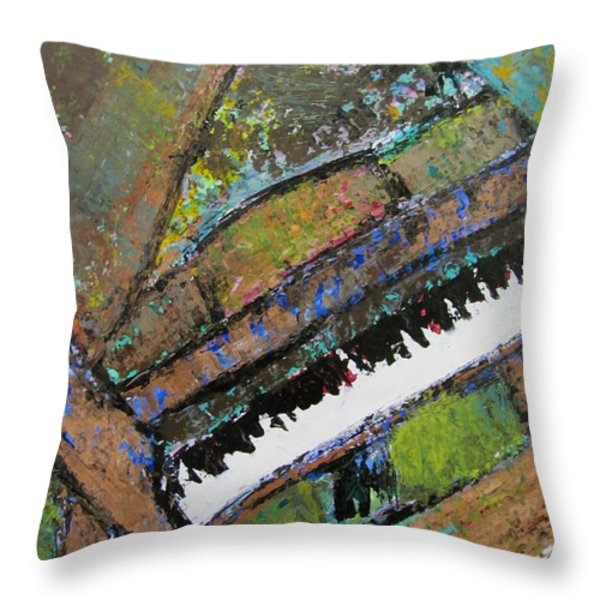 Piano Aqua Wall - cropped Throw Pillow by Anita Burgermeister