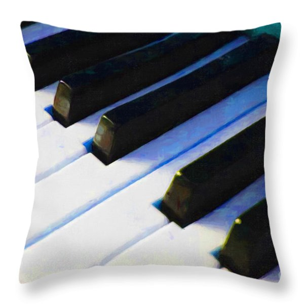 Piano Keys . V2 . Blue Throw Pillow by Wingsdomain Art and Photography