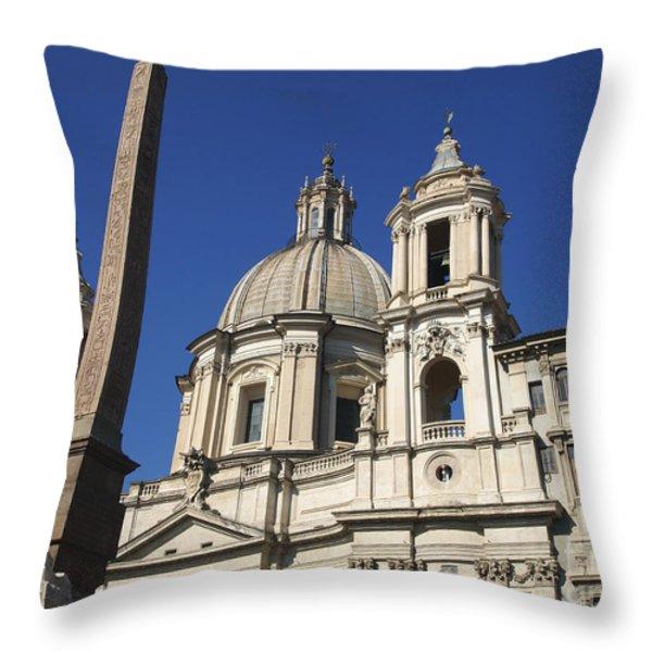 Piazza Navona. Navona Place. Church St. Angnese in Agona and egyptian obelisk. Rome Throw Pillow by BERNARD JAUBERT