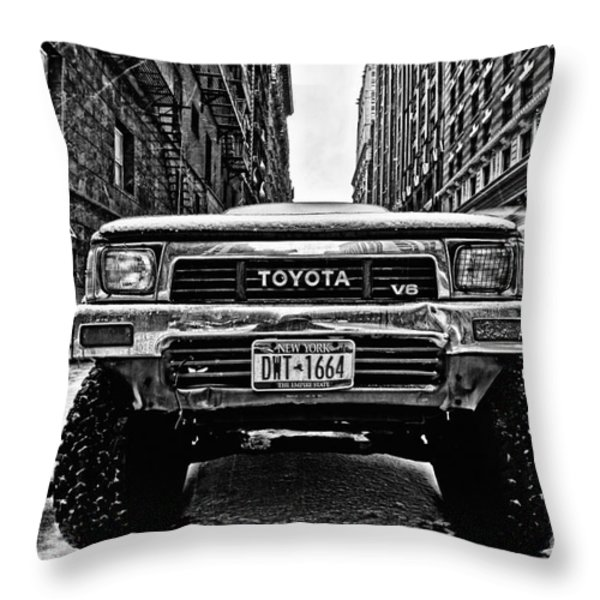 Pick up truck on a New York street Throw Pillow by John Farnan