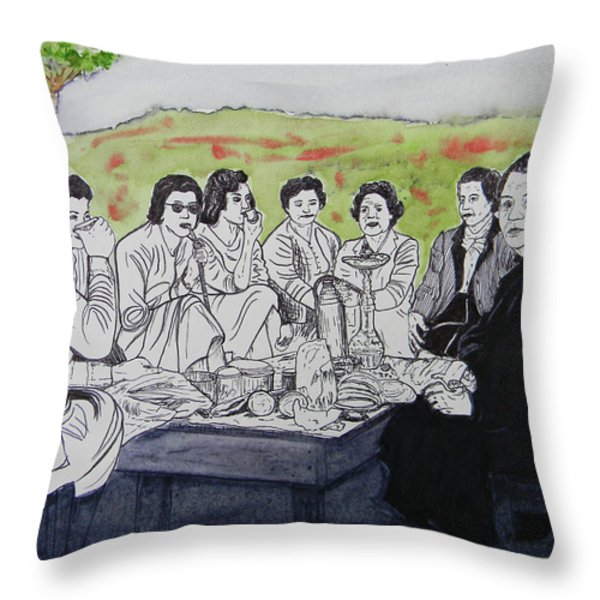 Picnic in the Mountains Throw Pillow by Marwan George Khoury