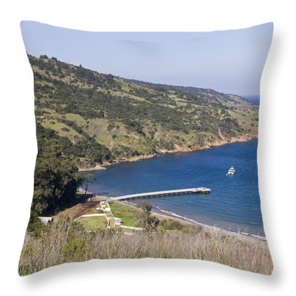 Pier And Boat In Prisoners Harbor Throw Pillow by Rich Reid