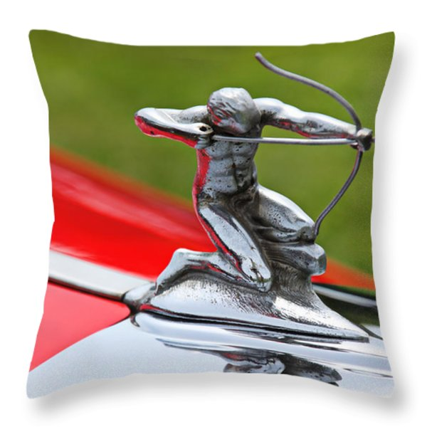 Piere-Arrow hood ornament Throw Pillow by Garry Gay