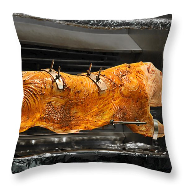 Pig plus Barbecue equals Mmmm Good Throw Pillow by Christine Till