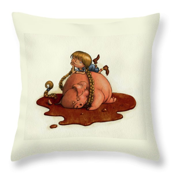 Pig Tales Throw Pillow by Andy Catling