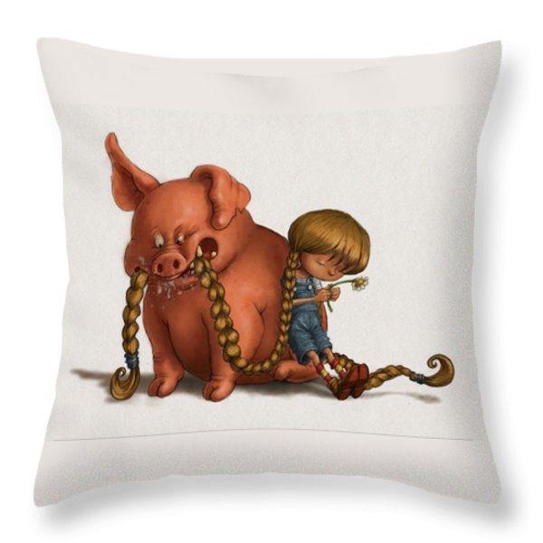Pig Tales Chomp Throw Pillow by Andy Catling