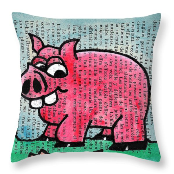 Piggy Contemplating Bacon Throw Pillow by Jera Sky