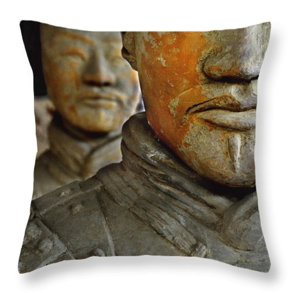 Pigment Remains On 2,200 Year Old Terra Throw Pillow by O. Louis Mazzatenta