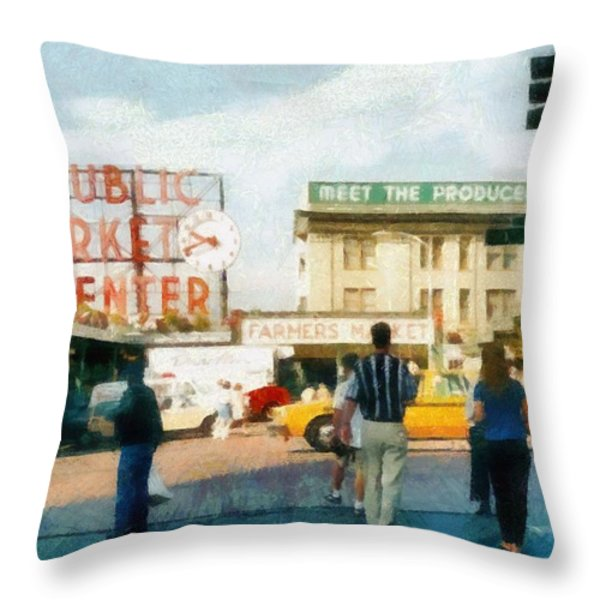Pike Place Market Throw Pillow by Michelle Calkins