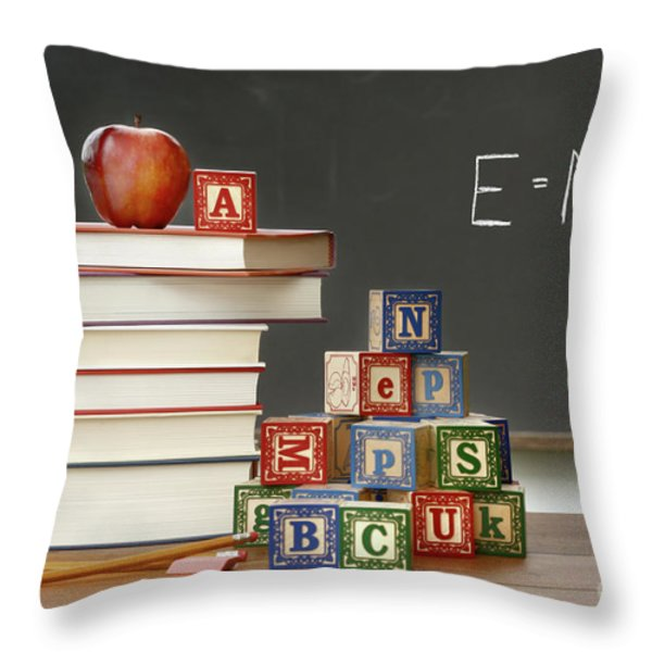 Pile Of Books With Wooden Blocks Throw Pillow by Sandra Cunningham