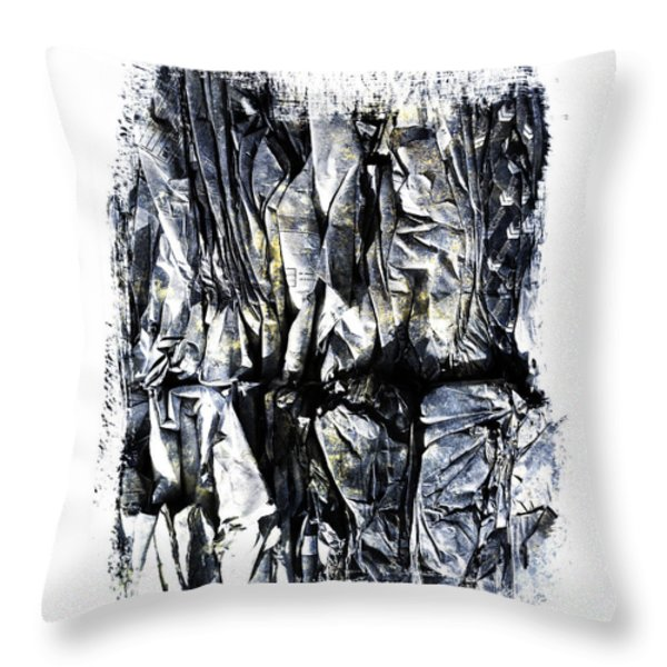 Pile of crushed cardboard  for recycling Throw Pillow by BERNARD JAUBERT