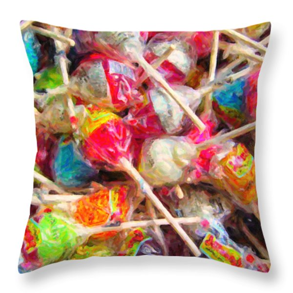 Pile of Lollipops - Painterly Throw Pillow by Wingsdomain Art and Photography
