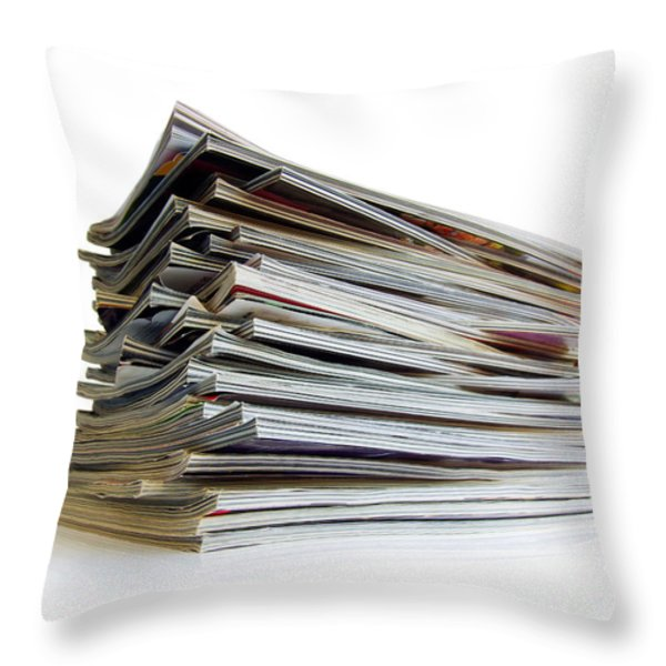 Pile Of Magazines Throw Pillow by Carlos Caetano