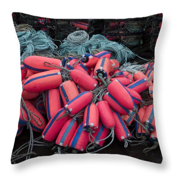 Pile Of Pink And Blue Buoys Throw Pillow by Carol Leigh