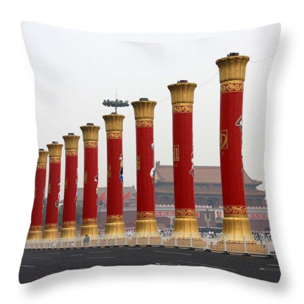 Pillars At Tiananmen Square Throw Pillow by Carol Groenen