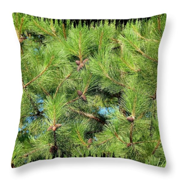 Pine Cones And Needles Throw Pillow by Will Borden
