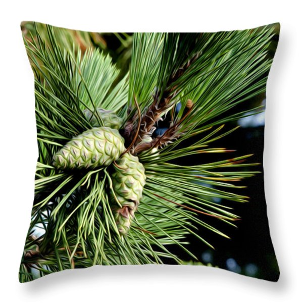 Pine Cones in a Pine Tree Throw Pillow by Bill Cannon