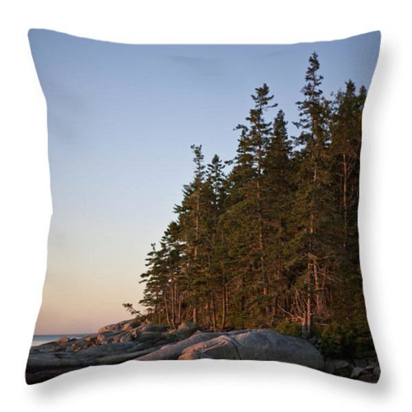 Pine Trees Along The Rocky Coastline Throw Pillow by Hannele Lahti